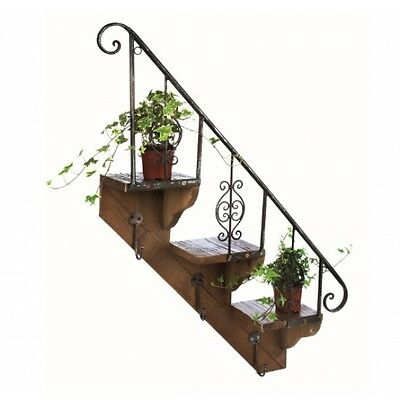 Decorative Rustic Staircase Wooden Plant Holder Ideal for Mounting on a Wall