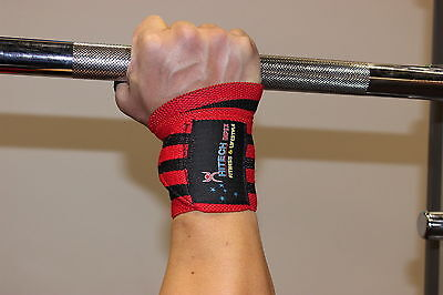 """12"""" Heavy Duty Weight Lifting Wrist Wraps Gym Wrist Support Wraps Straps Red"""