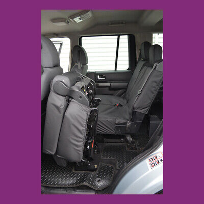 Land Rover Discovery 3 & 4 Tailored & Waterproof Black Rear Seat Covers  UK Made