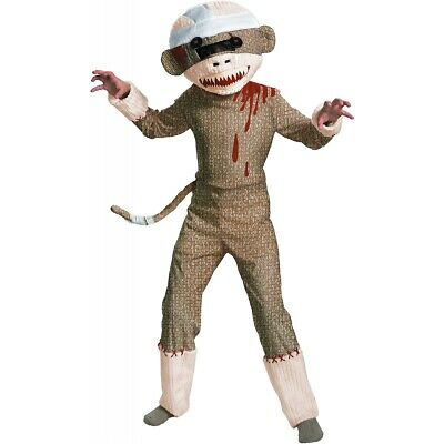 Zombie Sock Monkey Scary Costume Halloween Fancy Dress