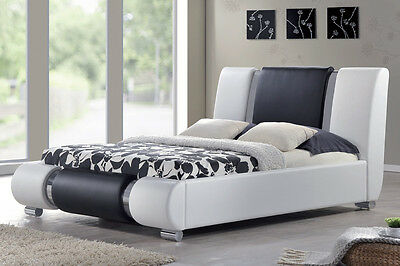 Stunning Modern Italian Designer Bed Frame White Black Chrome Double King Size