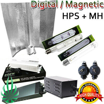 250/400/600W HPS MH Grow Light Kit Magnetic Digital Ballast Reflector Hydroponic