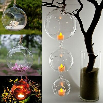 Clear Hanging Glass Vase Candlestick Tea Light SmalL Plant Container Home Decor