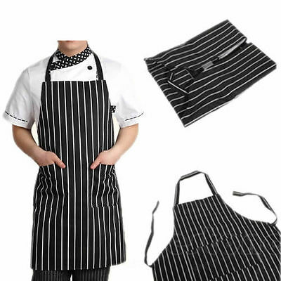 Waterproof Stripe Butchers Chef Cooking Kitchen Catering Apron Bib With Pocket