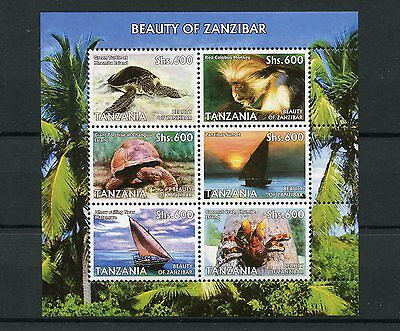 Tanzania 2006 MNH Beauty of Zanzibar 6v M/S Turtles Monkeys Ships Dhows Crabs