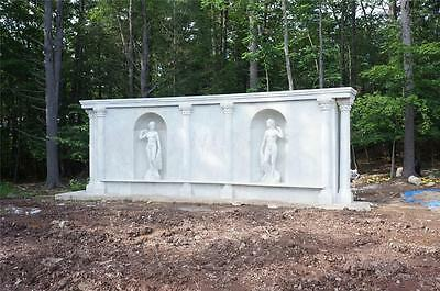 Incredible Hand Carved Grecian Style Marble Estate Figural Wall With Statues
