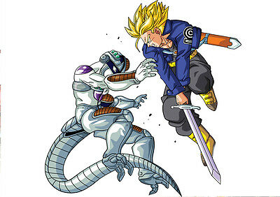 Sticker Poster Manga Dragon Ball Z.trunks Super Sayan Epee Vs Meca-Freezer. A4