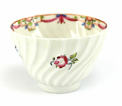 Royal Worcester Porcelain Fluted Cup, c1790 Hand Painted Multi-color Floral