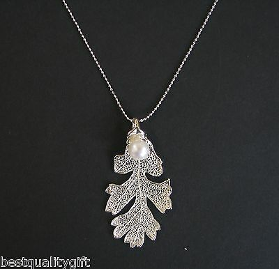 Silver Plated Real Lacey Oak Leaf Pendant+Fresh Water Pearl Chain Necklace