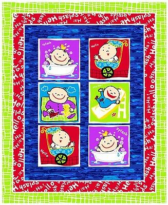 "Fabri-Quilt Baby Blocks Quilt Top 100/% cotton 42/"" Fabric by the panel 35.5/"""