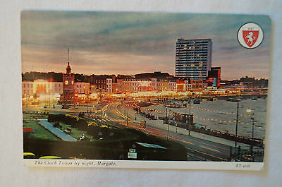 The Clock Tower by Night - Margate - England - Vintage - Postcard.