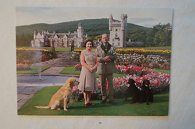 H.M. The Queen & H.R.H.The Duke-Balmoral Castle - Scotland - Vintage - Postcard.