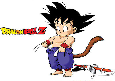 Sticker Poster Manga Dragon Ball Z .mix Logo Dbz Sangoku Enfant Songoku Kid. A4