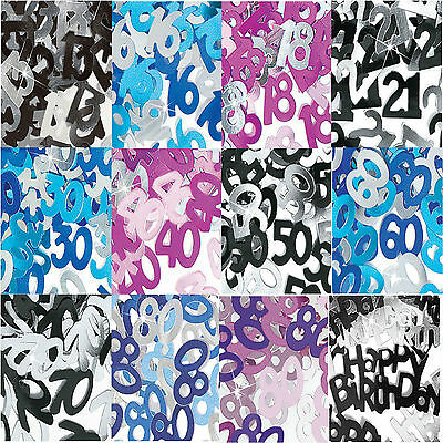 Birthday Glitz Table Party CONFETTI Pink Blue or Black & Silver Ages 13 -100