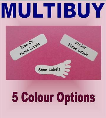 Multibuy 3 in 1 - Iron On Stick On Shoe Waterproof School Name Labels Tapes Tags