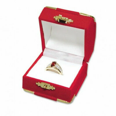 6 Red Velvet & Brass Accent Ring Jewelry Display Presentation Gift Boxes