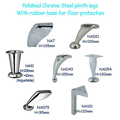 Chrome Steel Feet Plinth Legs Sofa Beds Cupboard Cabinets Kitchen Furniture