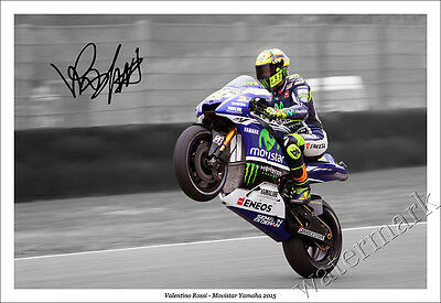 VALENTINO ROSSI SIGNED PHOTO PRINT POSTER AUTOGRAPH 2015 MOVISTAR YAMAHA MotoGP
