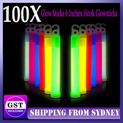 100X Glow Sticks 6 Inches Hook Glowsticks Lanyard Poi Party Glow in the dark Dec