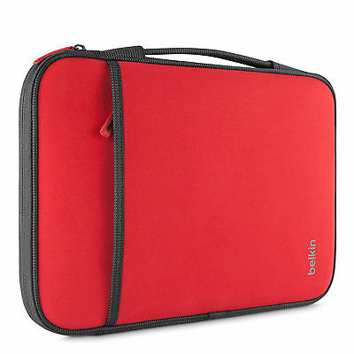 "Belkin Slim Protective Sleeve with Carry Handle Storage for MacBook Air 13"" Red"