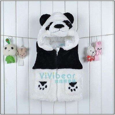 Toddler Kid Puffer Vest Panda Costumes Fancy Dress Warm cute hooded Size 1-4 Yrs