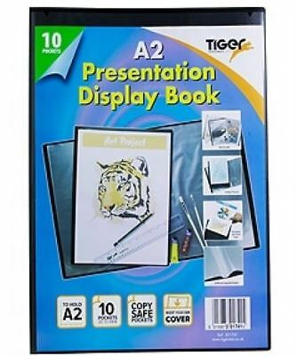 A2 Premium Black Cover Display Book Presentation Folder Portfolio 10 Pocket