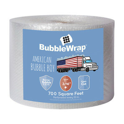 "OFFICIAL SEALED AIR BUBBLE WRAP - 700' Ft Roll - 3/16"" Small Bubble - 12"" Perf"