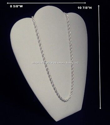 "1 White Necklace Pendant Chain Easel Back Jewelry Display 8 5/8""W x 10 7/8""H"