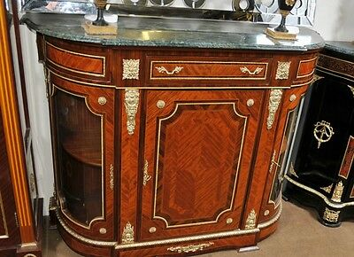 French Empire Cabinet Sideboard Kingwood Marble Top Credenza Server