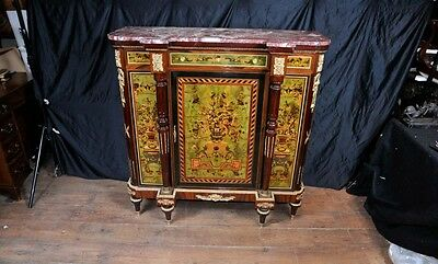 French Empire Sideboard Cabinet Marquetry Inlay Chest