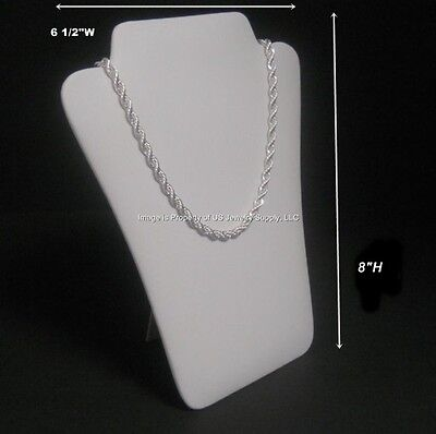 "6 White Leatherette Necklace Pendant Easel Back Jewelry Displays 6 1/2""W x 8""H"