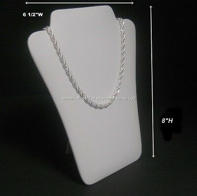 "1 White Leatherette Necklace Pendant Easel Back Jewelry Display 6 1/2""W x 8""H"