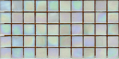 50pcs NP1 White Natura Pearl Glass Mosaic Tiles Iridescent 15x15x4mm Paperfaced