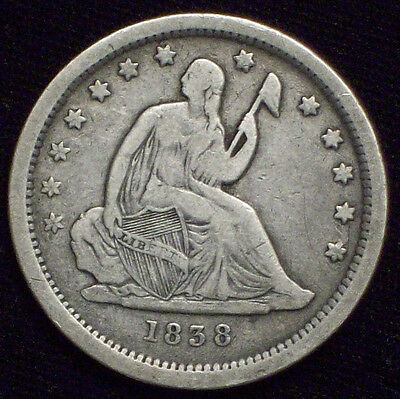1838 Seated Liberty QUARTER Dollar SILVER Nice VF+ Detailing *RARE First Year*