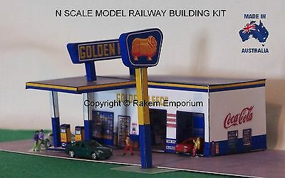 N Scale Golden Fleece Garage Petrol Station Model Railway Building Kit - NGFS1