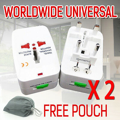 2×Worldwide AC Universal Travel Power Plug Charger Adapter Converter AU/UK/US/EU