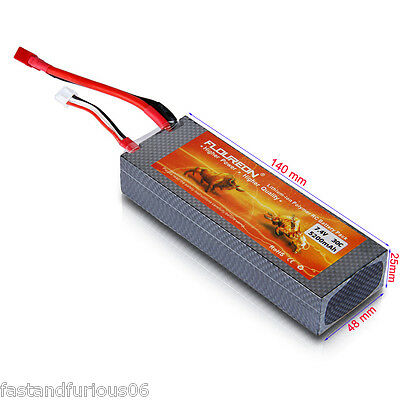 7.4V 5200mAh 30C 2S Li-Po Battery Deans Hard Case For RC Helicopter Airplane Car
