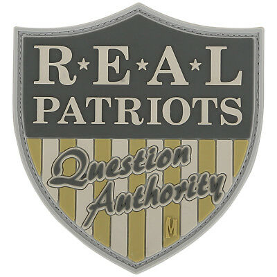 Maxpedition Real Patriots Question Authority Morale Patch 3D Rubber Badge Arid