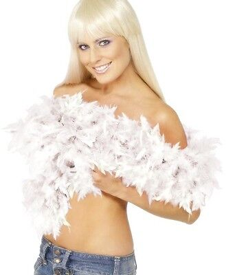 20s Smiffys Deluxe Fancy Dress Feather Boa White Hen Party 2 Yd New