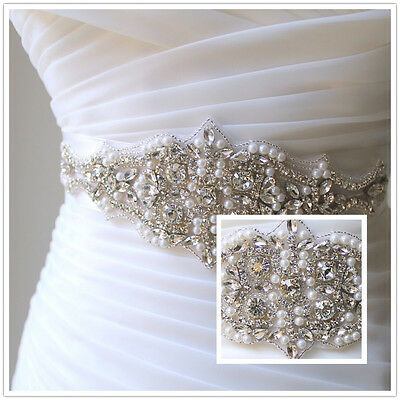 Bridal beaded rhinestone pearl sash. Vintage style crystal applique wedding belt