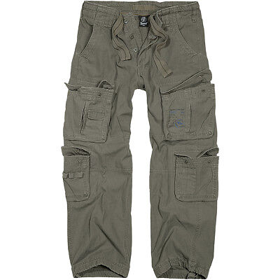 Brandit Pure Vintage Military Style Combats Cotton Trousers Hiking Pants Olive