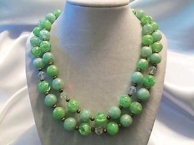 AWESOME Vintage Double-Strand Shades IRIDESCENT GREEN Goldtone Necklace 15N188