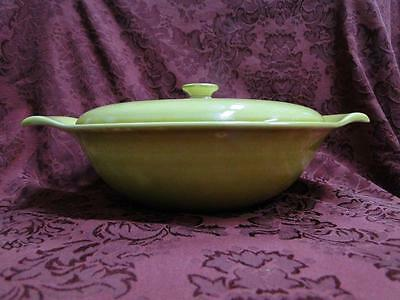"Steubenville Russel Wright, Chartreuse: Round Covered Vegetable Bowl 9.25"",As Is"