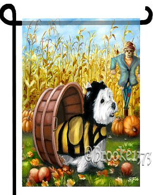 """West Highland white Terrier painting """"COUNTRY WESTIE"""" GARDEN FLAG  Dog ART"""