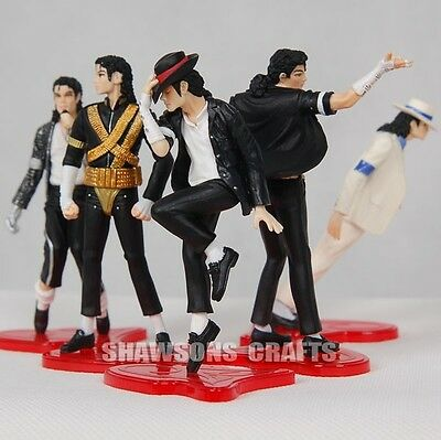 "King Of Pop Michael Jackson 4"" Figures 5 Pose Figurines Set Doll Statue Loose"