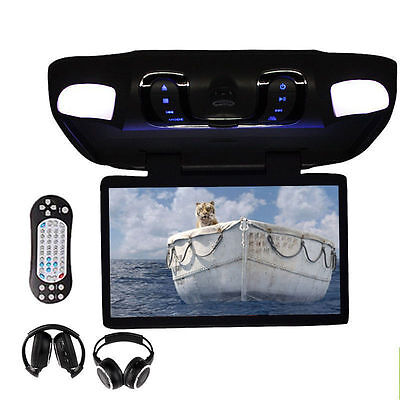 "Black 15.6"" Overhead Ceiling Monitor Car CD DVD Player Game Wireless Headphones"