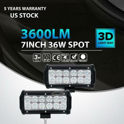 "2x 7""inch 36W CREE LED Work Light Bar Spot Offroad Driving SUV ATV 4WD Truck UTE"