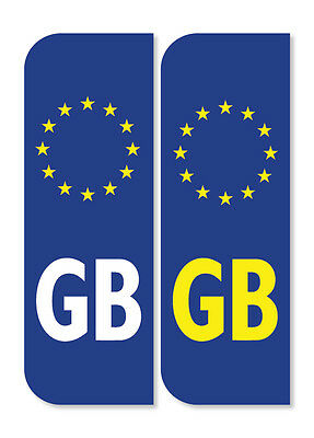 2 x GB Euro Car Number Plate vinyl stickers