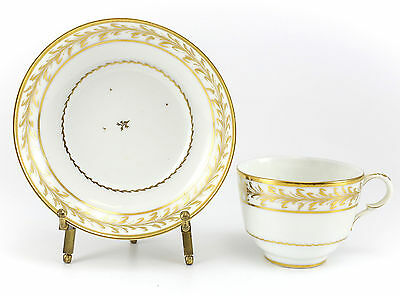 Continental Porcelain Cup & Saucer 19th Century Hand Painted Gilt Foliate