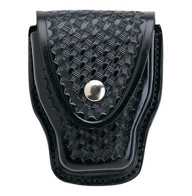 """Aker Basket Weave Handcuff Case W/ Nickel Snaps For Belt To 2 1/4"""" Blk A508-BW"""